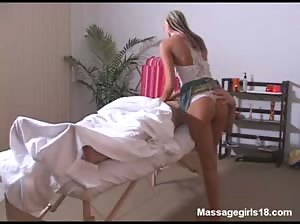 Beautiful blonde girl Christine gives an awesome massage and gets fucked