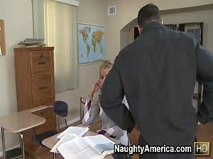 Cute blonde student Darcy Tyler studies her professor`s cock