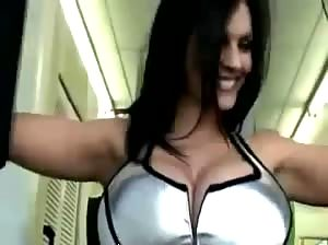 Busty Denise Milani working out at the gym