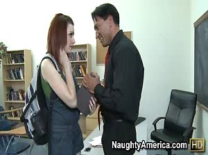 Teachers asks hot redhead to stay after class for a special lesson in hot sex.