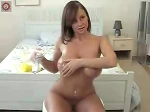 Girl with huge tits oiled up