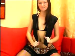 Hot brunette doing belly dance and touching her body on cam just for you
