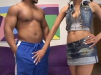 Nasty freak Desiree Diamond fucked in the ass by a big black cock - part 1