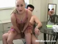 Hot blonde gives her lazy hubby a handjob