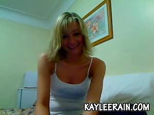 Teen Kaylee Rain peels off her white tank top