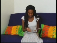 Cute black teen Bettina in her first casting