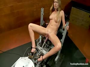 Nasty fucking machines fucking sexy Brynn Tyler in both holes