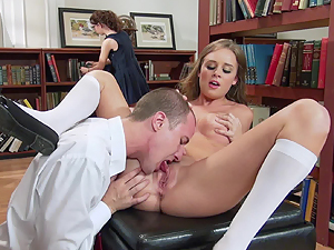 College babe Alexis Adams fucks in the library