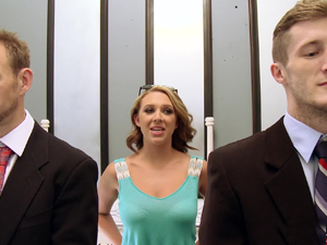 Two office dudes threesomed with Brooke Wylde