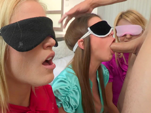 Brooklyn, Natalia and Ash blindfolded and sucking cock