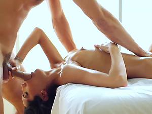Chloe Amour has her mouth packed during her massage