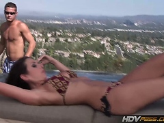 Amy Fisher gets her pussy eaten and fucked by the pool