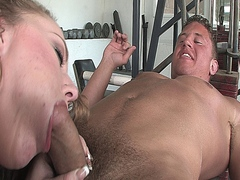 Curly haired bitch enjoys sucking cock and swallowing all its cum