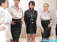 Classy euro babes group fuck dude