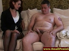 CFNM mistress makes tiny cock jizz