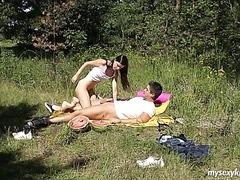 Brunette teen Tamara gets fucked outdoors