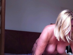 Blonde fatty with big tit enjoys riding on top of her hubby