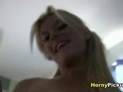 Blond babe masturbates with dildo