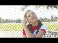 Teen Nicole Ray gets horny after cheerleading practice.