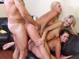 Wild foursome for Aaliyah Love and friends
