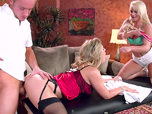 Cherie Deville and Cali Carter massage threesome