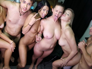 A college all naked party brings the girls together