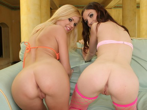 Double trouble with feisty teens who get stuffed