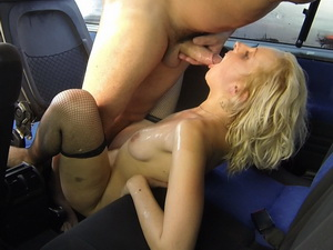 Czech blonde bitch swallows cum