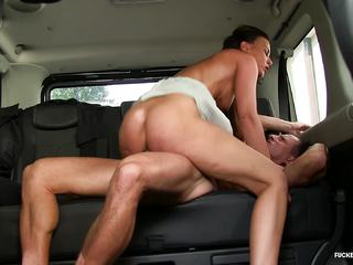 Fucked In Traffic - Czech babe enjoys hot hard car sex
