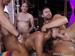 Ebony Skyler Nicole fucked in orgy
