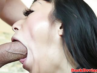 Asian babe slammed in her cute mouth