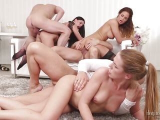 Sliding hard dick into Alexis Crystal, Nicole Vice and Eveline Dellai