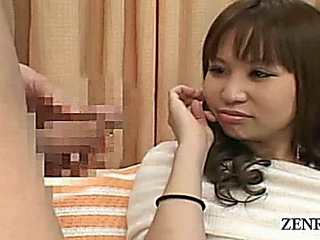 Subtitled Japanese CFNM erection closeup with amateur