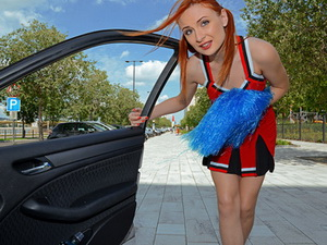 Redhead cheerleader gets fucked