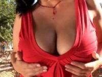 Jelena Jensen posing her tits