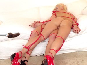 Fuckmachine pounds two hot blondes