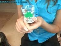 Babe Katie swallows cum from a shotglass