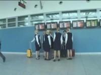 Big titty stewardess gives a public handjob to a horny Asian dude