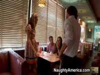 Naughty rich girls Allie Haze and Gracie Glam get fucked hard in a diner