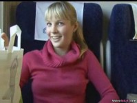 Blonde teen cutie pie sucks cock on a train