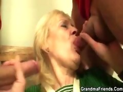 Granny fucked by football fans