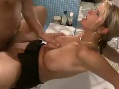 Busty German Blonde Fucked in Bathroom