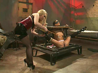 Kinky Aiden Starr whips Layla Storm into shape