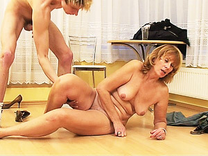 Mature lady takes hard young cock.