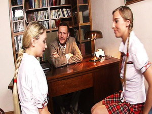 Blonde teen schoolgirls get nailed