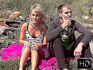 Hot exhibitionist euro couple fucking outdoors