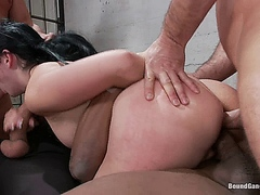 Angell Summers - French Hottie Gets Pounded by 5 Prison Guards
