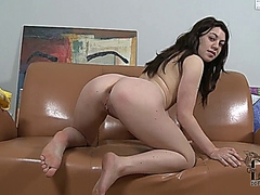 Black haired casting girl Tiffany Doll gets naked (1)