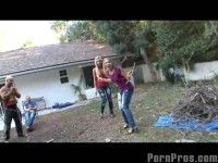 Kimberly`s backyard jizz attack