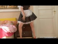 Seductive brunette in housemaid outfit loses her anal virginity in a hotel room
